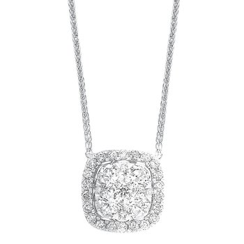 Diamond Cushion Cluster Halo Pendant Necklace in 14k White Gold (1/2 ctw)