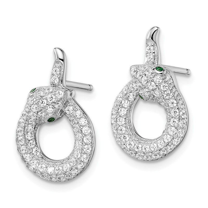 Quality Gold Sterling Silver Brilliant Embers Rhodium-plated CZ Snake Earrings