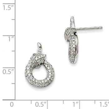 Sterling Silver & CZ Brilliant Embers Snake Earrings