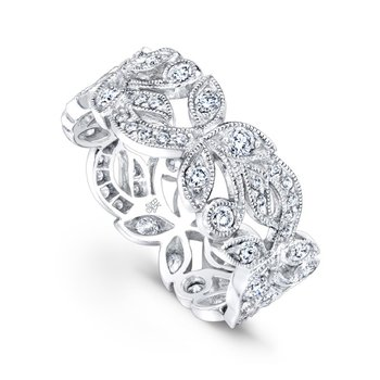 Large Petal Wide Diamond Band