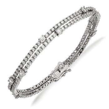 Sterling Silver Rhodium-plated CZ Double Strand Bracelet