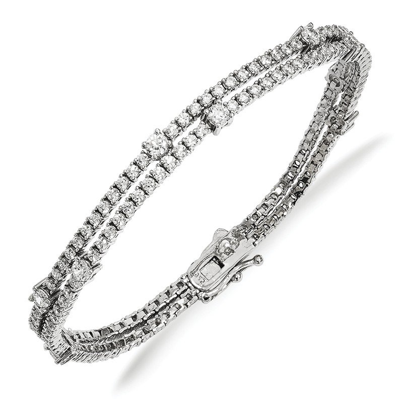Arizona Diamond Center Collection Sterling Silver Rhodium-plated CZ Double Strand Bracelet