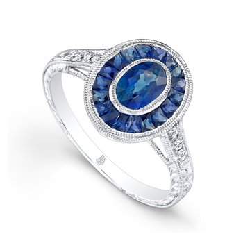 Oval French Cut Halo Sapphire Ring