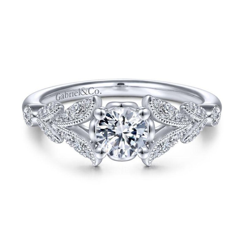 Gabriel Bridal Vintage 14K White Gold Split Shank Round Diamond Engagement Ring