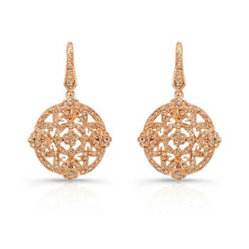 Rose Gold Cognac Diamond Earrings