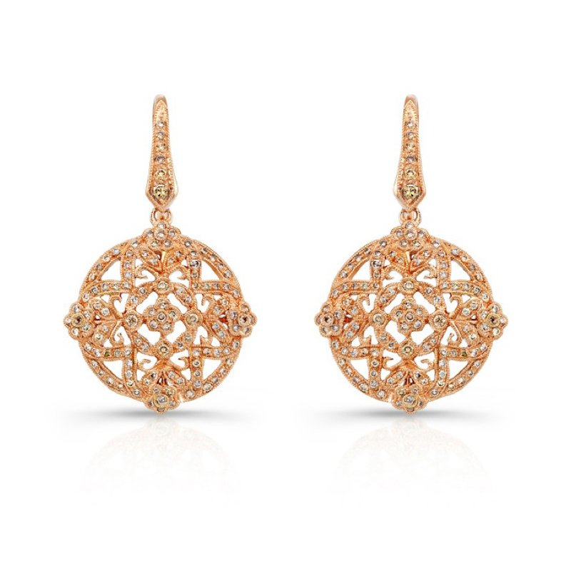 Beverley K Rose Gold Cognac Diamond Earrings