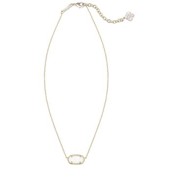 Elisa Gold Pendant Necklace In White Mother-Of-Pearl