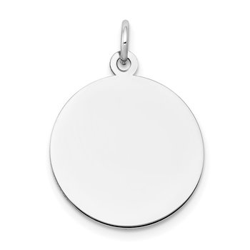 14k White Gold Plain .009 Gauge Round Engravable Disc Charm