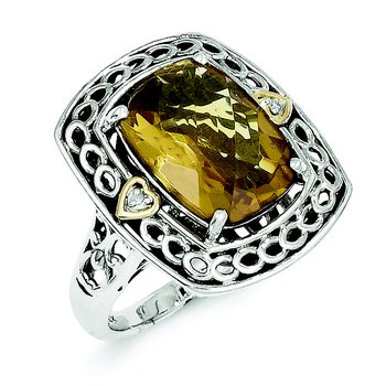 Sterling Silver w/14k Diamond & Whiskey Quartz Ring