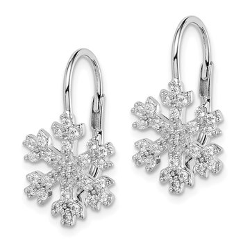 Sterling Silver Rhodium-plated CZ Snowflake Leverback Earrings
