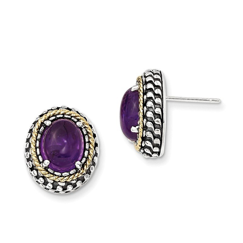 Shey Couture Sterling Silver w/14k Antiqued Amethyst Post Earrings