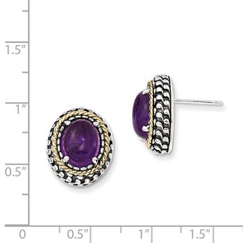 Sterling Silver w/14k Antiqued Amethyst Post Earrings