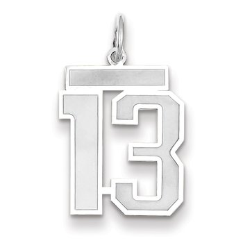 14k WG Medium Satin Number 13 Charm