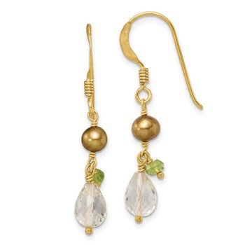 Sterling Silver & Vermeil Crystal/ Green FW Cultured Pearl/Peridot Ear