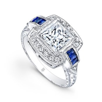 Art Deco Square Halo Bridal Ring