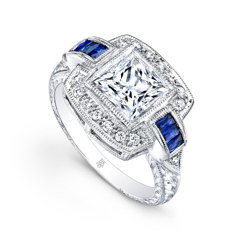 Beverley K Art Deco Square Halo Bridal Ring