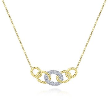 14K Yellow/White Gold Link Chain Diamond Necklace