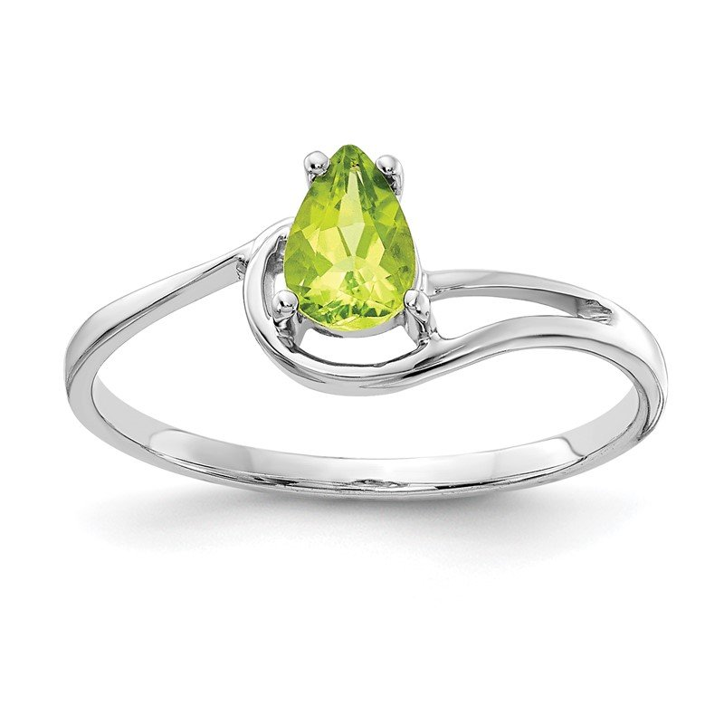 Fine Jewelry by JBD 14k White Gold 6x4mm Pear Peridot ring