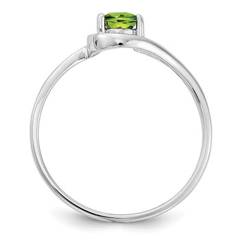 14k White Gold 6x4mm Pear Peridot ring