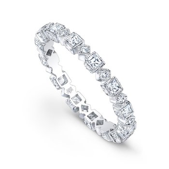 Square and Round Diamond Eternity Band
