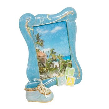 Baby Shoe Keepsake Box 4 x 6 Photo Frame in Blue