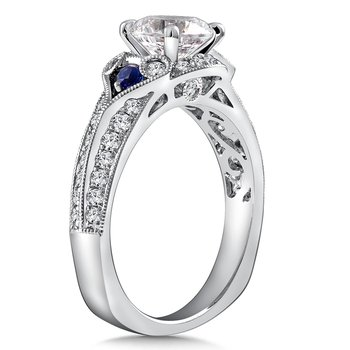 Diamond & Blue Sapphire Engagement Ring Mounting in 14K White Gold with Platinum Head (.45 ct. tw.)