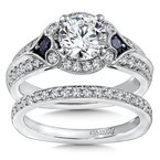 Caro74 Diamond & Blue Sapphire Engagement Ring Mounting in 14K White Gold with Platinum Head (.45 ct. tw.)