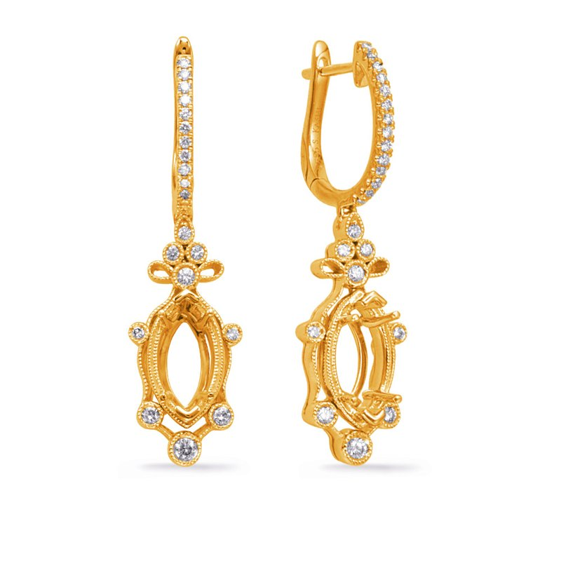 S. Kashi  & Sons Yellow Gold Diamond Earring 8x4m