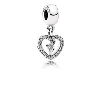 Disney, Love Tinker Bell Dangle Charm, Clear CZ