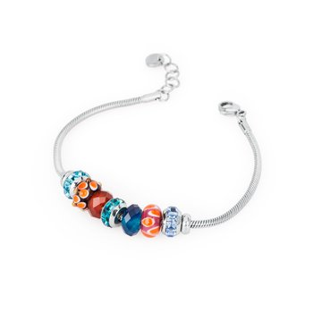 316L stainless steel, red agathe, blue agathe, coloured glass and coloured Swarovski® Elements crystals.
