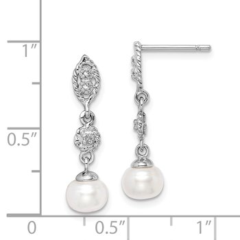 Sterling Silver Rhodium 6mm FW Cultured Pearl & Diamond Post Ear