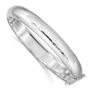 Sterling Silver Rhodium-plated 10.25mm Hinged Bangle Bracelet