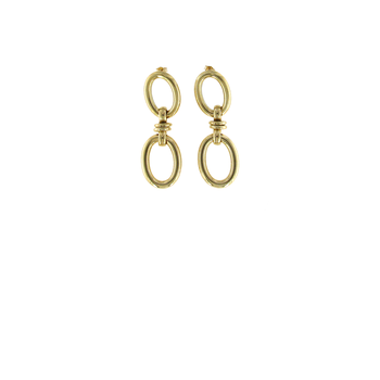 18Kt Yellow Gold Oval Drop Earrings
