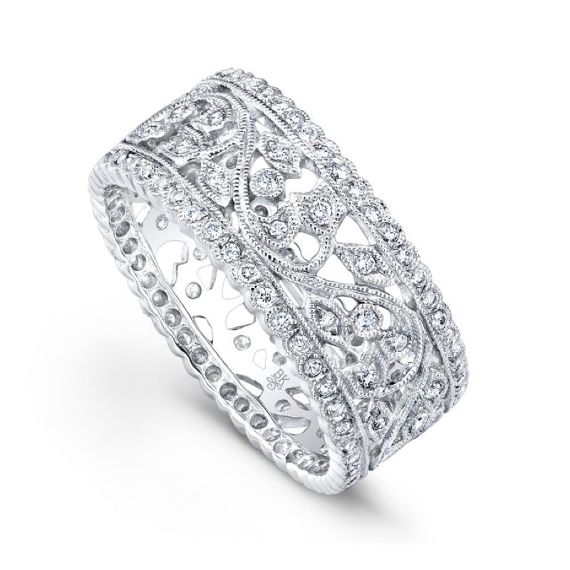 Beverley K Diamond Floral Band with Scalloped Edges