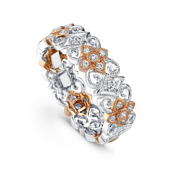 Flower & Diamond Two-Tone Band
