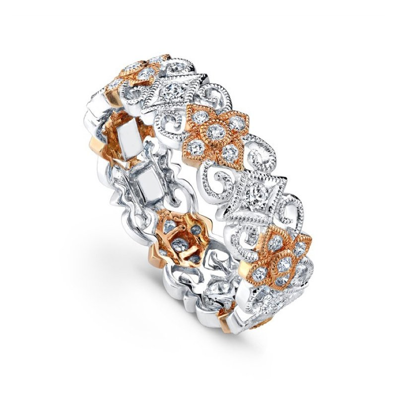 Beverley K Flower & Diamond Two-Tone Band