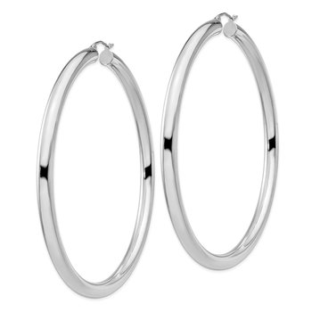 Sterling Silver Rhodium-plated 5mm Round Hoop Earrings