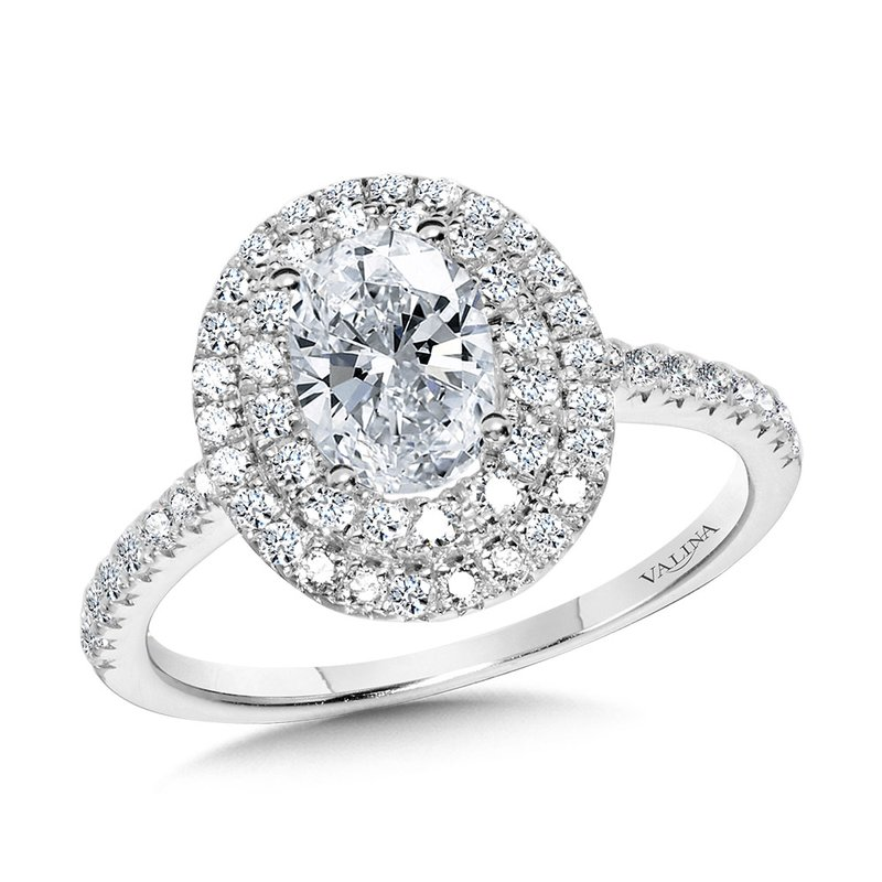 Valina Straight Oval Double-Halo Engagement Ring