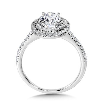 Straight Oval Double-Halo Engagement Ring