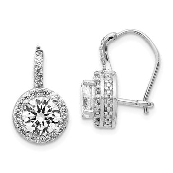 Cheryl M Sterling Silver Rhodium-plated CZ Kidney Wire Earrings