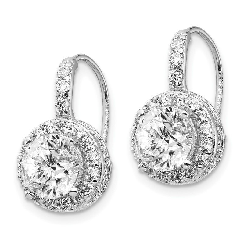 Cheryl M Cheryl M Sterling Silver Rhodium-plated CZ Kidney Wire Earrings