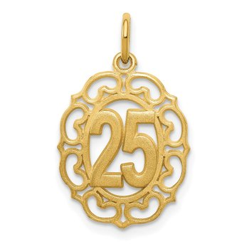 14k # 25 in Oval Pendant