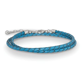 SS Reflections Blue Leather 14in w/2in ext Choker/Wrap Bracelet