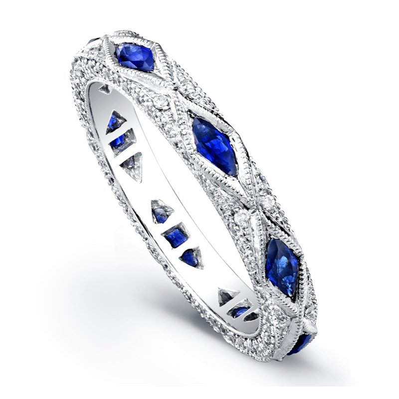 Beverley K Oval Pave Diamond & Sapphire Band