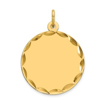14k Etched .011 Gauge Engravable Round Disc Charm