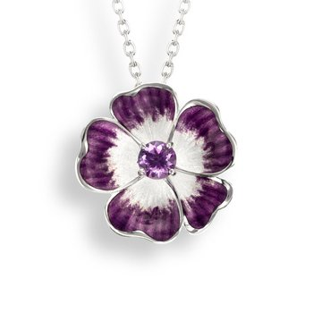 Purple Floral Necklace.Sterling Silver-Amethyst