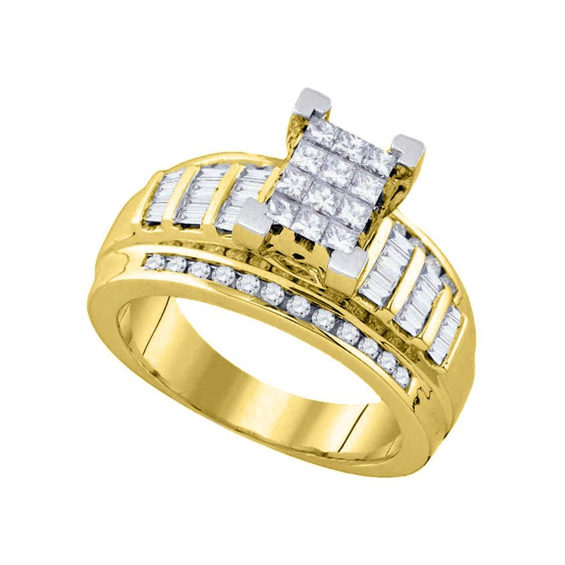 Gold-N-Diamonds, Inc. (Atlanta) 10kt Yellow Gold Womens Princess Diamond Cindy's Dream Cluster Bridal Wedding Engagement Ring 7/8 Cttw - Size 6