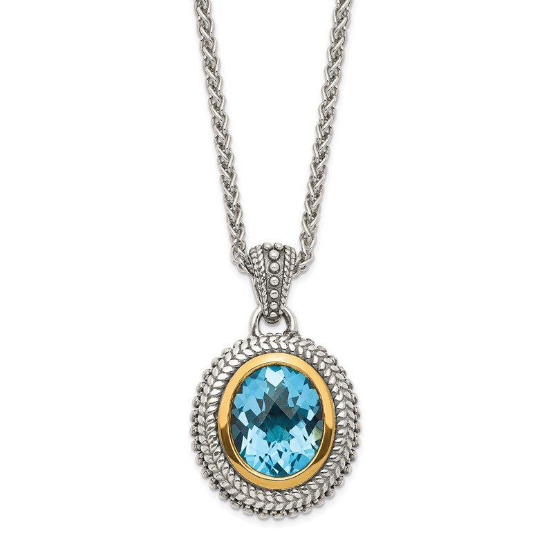 Quality Gold Sterling Silver w/ 14K Accent Antiqued Light Swiss Blue Topaz Necklace