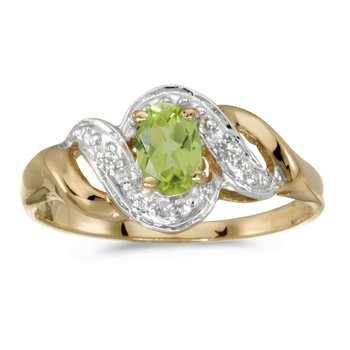 10k Yellow Gold Oval Peridot And Diamond Swirl Ring