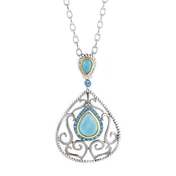 Sterling Silver and 14K Yellow Gold Turquoise and Blue Sapphire